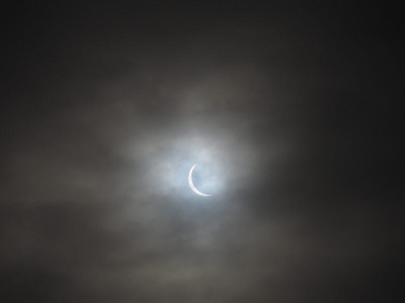 Solar eclipe 2015, Achnahaird Scotland crescent sun 0.9 phase
