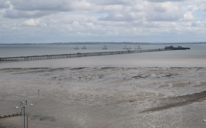 Longest pier in the world on Thames Estuary seen from Southend bank