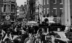 Stephen Hawking's funeral coffin to Great St Mary's Church in Cambridge