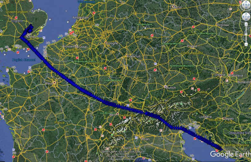 Ryanair flight route Google Earth from Zadar to London