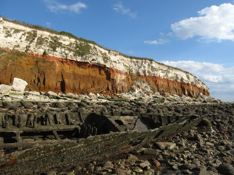 Limestone and chalky cliff in Hunstanton