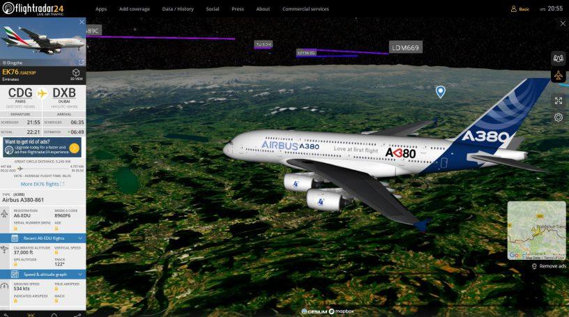 Flight from Paris to Dubai Flightradar24.com