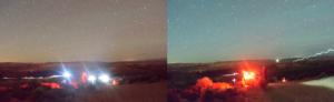 Starburst effect red light and white light