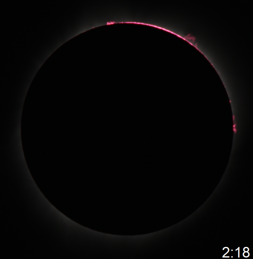 2017 great american eclipse solar prominence near the end