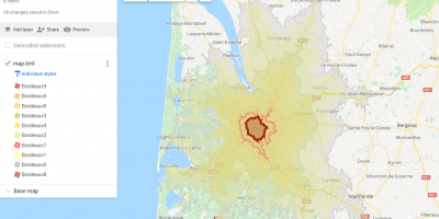Isochrone Map in Google MyMaps full customization