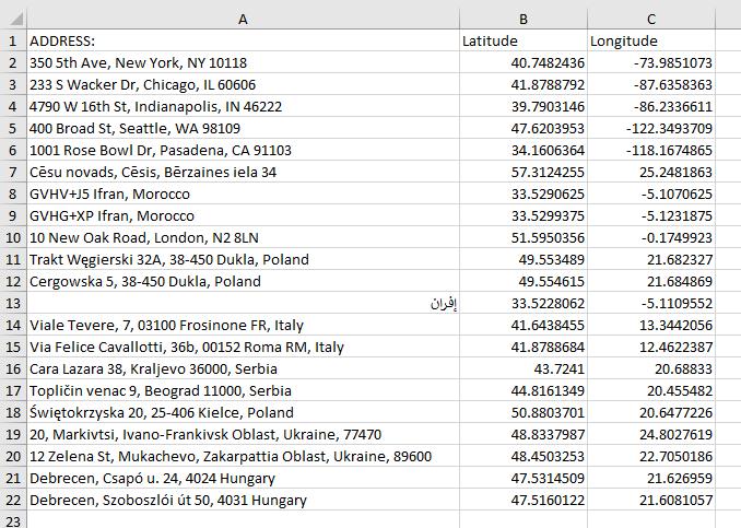 Google Sheets addresses in Excel