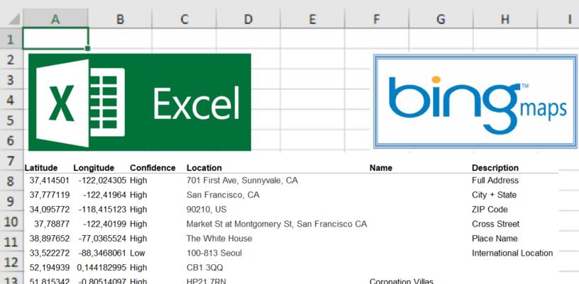 Bing Maps API geocoding with Excel