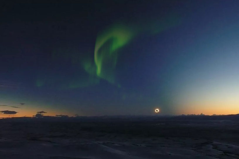 Aurora and total solar eclipse
